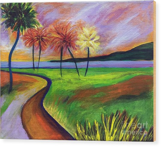 Vinoy Park In Purple Wood Print