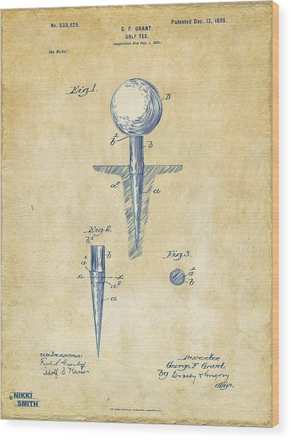 Wood Print featuring the digital art Vintage 1899 Golf Tee Patent Artwork by Nikki Marie Smith