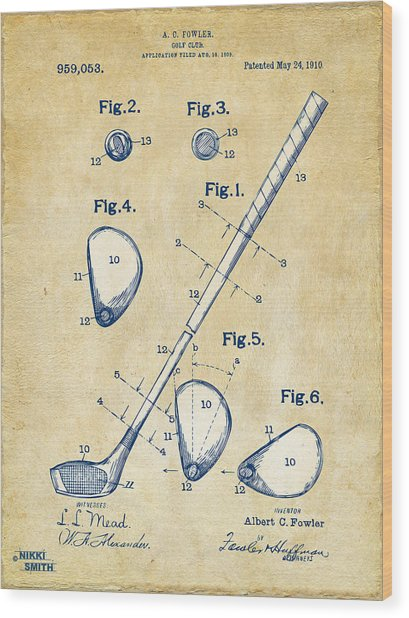 Vintage 1910 Golf Club Patent Artwork Wood Print