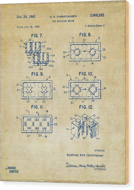 Vintage 1961 Lego Brick Patent Art Wood Print
