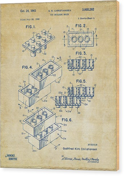 Vintage 1961 Toy Building Brick Patent Art Wood Print