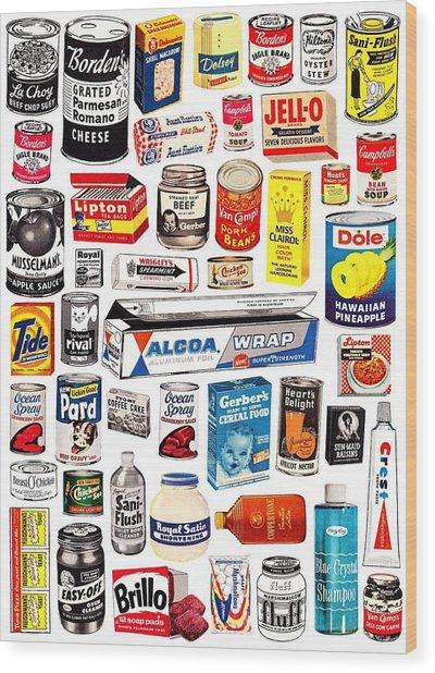 Vintage American Brands Wood Print