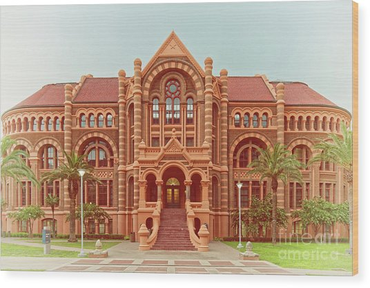 Vintage Architectural Photograph Of Ashbel Smith Old Red Building At Utmb - Downtown Galveston Texas Wood Print