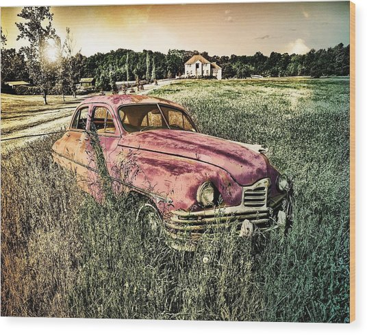 Vintage Auto In A Field Wood Print