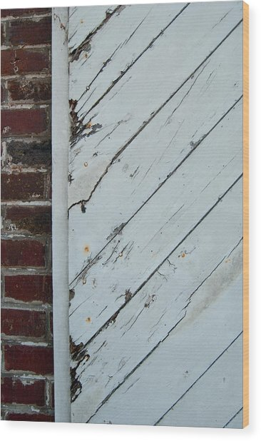 Vintage Barn Door And Red Brick Wood Print