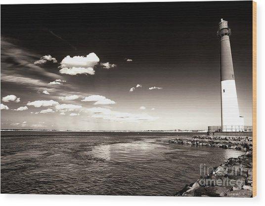 Vintage Barnegat Lighthouse Wood Print by John Rizzuto