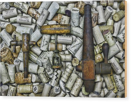 Vintage Barrel Taps And Cork Screw Wood Print