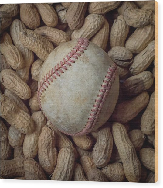 Vintage Baseball And Peanuts Square Wood Print