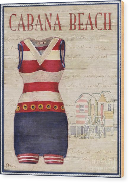 Vintage Bathing Suits I Wood Print by Paul Brent
