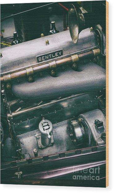 Vintage Bentley Engine Wood Print
