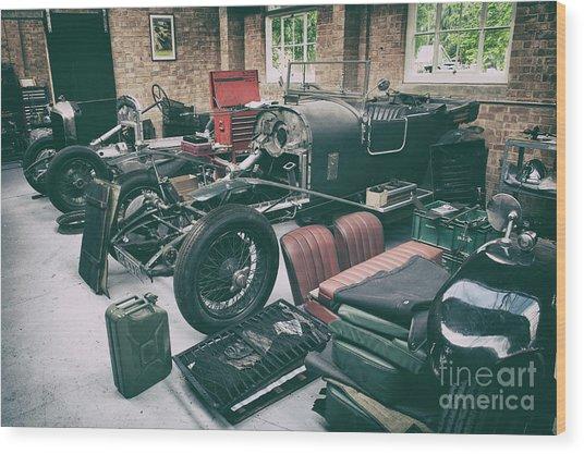 Vintage Bentley Restoration Workshop Wood Print
