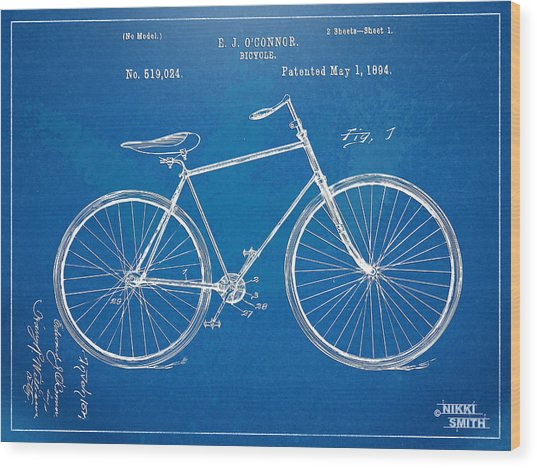 Wood Print featuring the digital art Vintage Bicycle Patent Artwork 1894 by Nikki Marie Smith