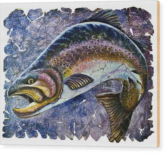 Vintage Blue Trout Fresco  Wood Print