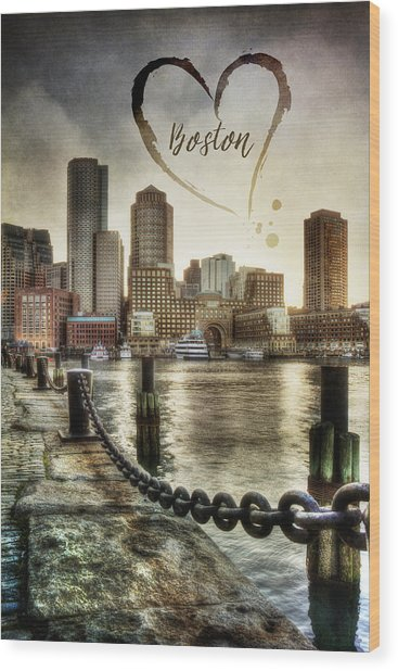 Vintage Boston Skyline Wood Print