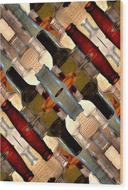 Vintage Bottles Abstract Wood Print