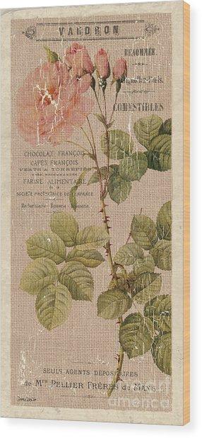 Vintage Burlap Floral 4 Wood Print