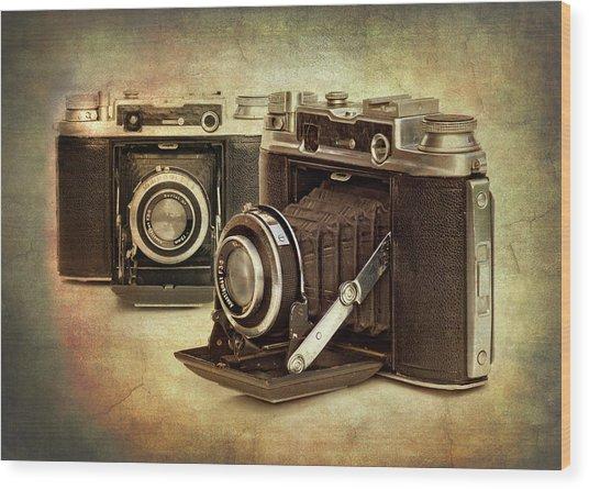 Vintage Cameras Wood Print