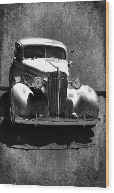 Vintage Car Art 0443 Bw Wood Print