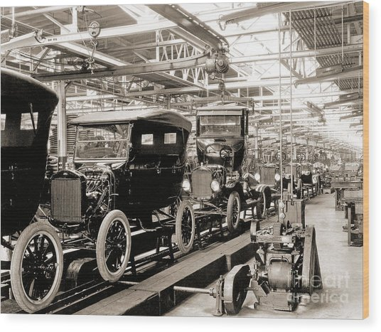 Vintage Car Assembly Line Wood Print