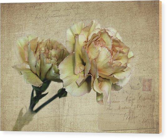 Vintage Carnations Wood Print