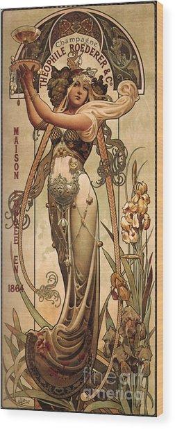 Vintage Champagne Ad Wood Print