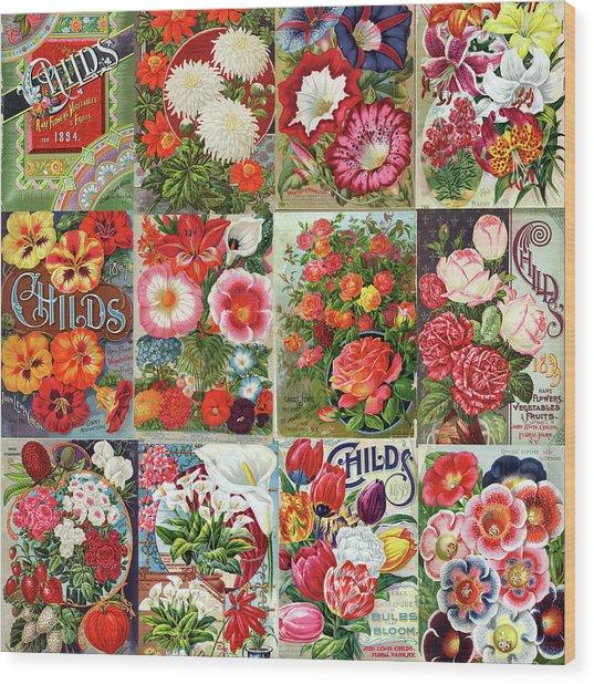 Vintage Childs Nursery Flower Seed Packets Mosaic  Wood Print