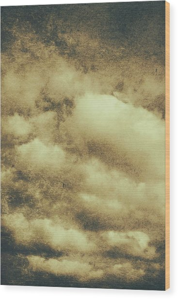 Vintage Cloudy Sky. Old Day Background Wood Print