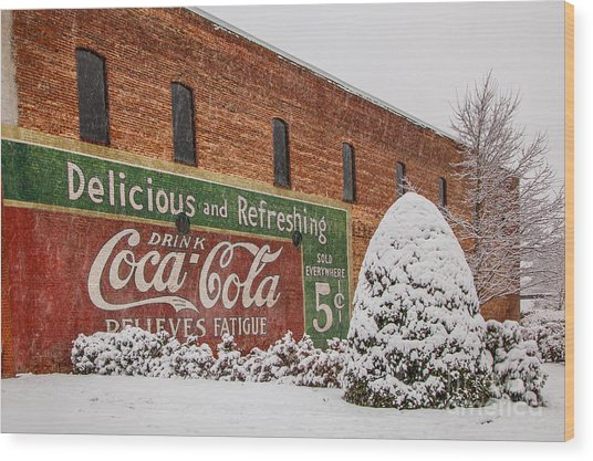 Vintage Coca Cola Sign New Albany Mississippi Wood Print