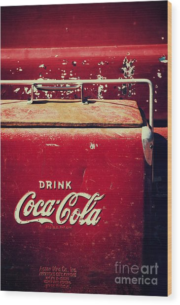 Vintage Coke Cooler Wood Print