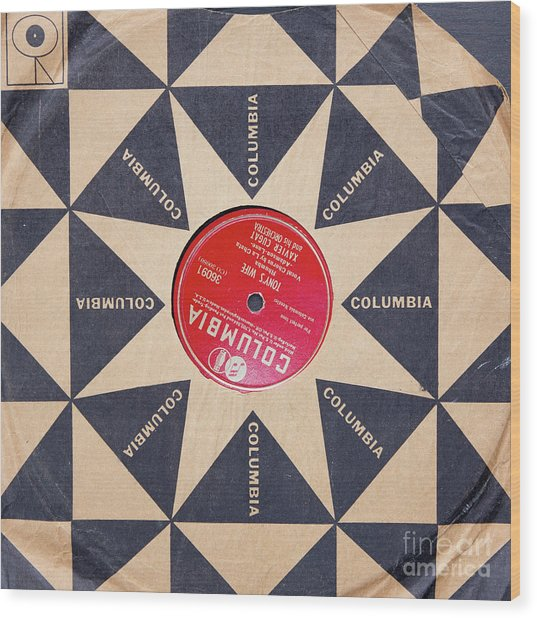 Wood Print featuring the photograph Vintage Columbia Records Graphic Design by Edward Fielding