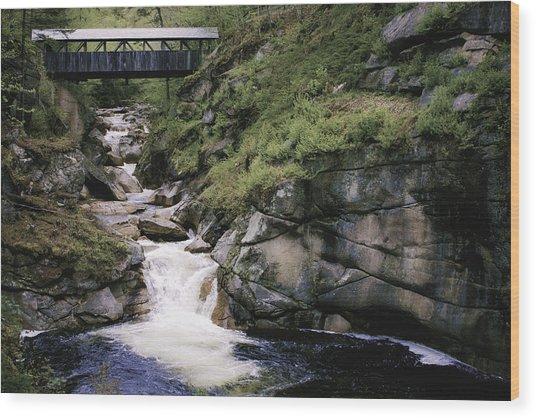 Vintage Covered Bridge And Waterfall Wood Print