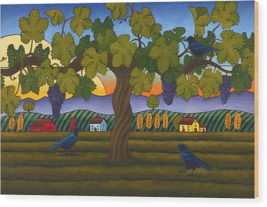 Vintage Crow Wood Print