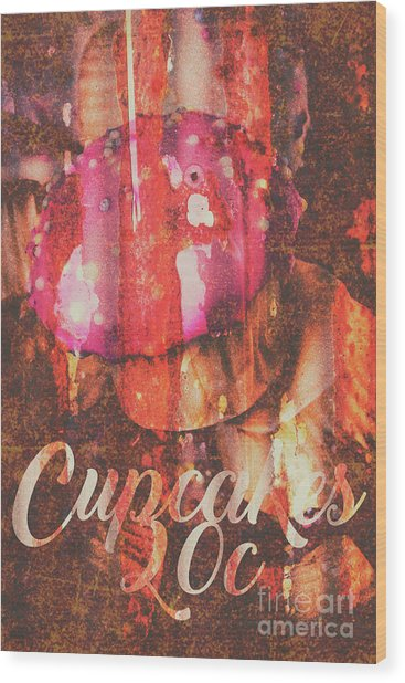 Vintage Cupcake Tin Sign Wood Print