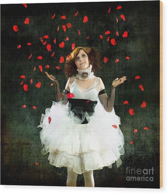 Vintage Dancer Series Raining Rose Petals  Wood Print