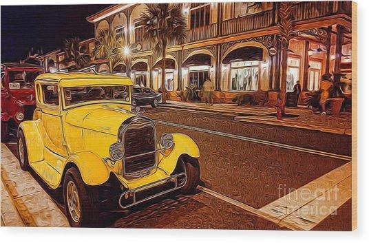 Vintage Dreams And City Lights Wood Print