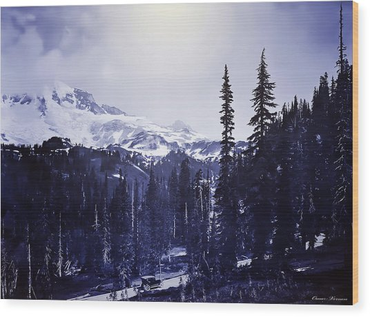 Vintage... Driving Up To Mount Rainier Early 1900 Era... Wood Print