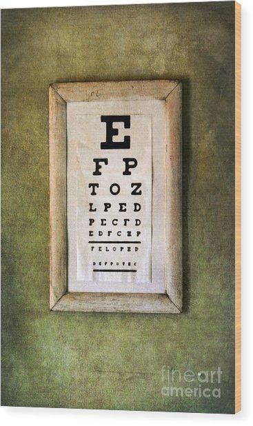 Vintage Eye Chart Wood Print