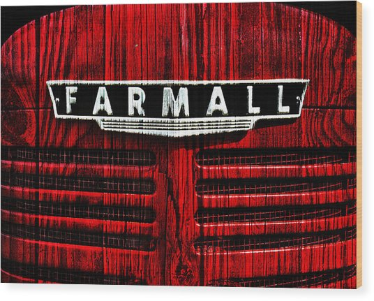 Vintage Farmall Red Tractor With Wood Grain Wood Print