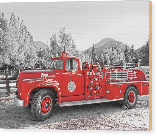 Wood Print featuring the photograph Vintage Fire Truck by Pacific Northwest Imagery