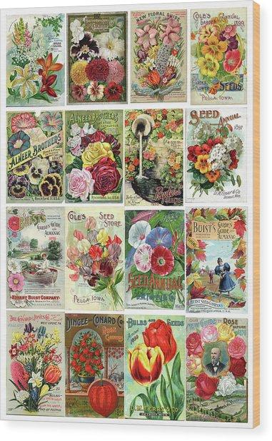 Vintage Flower Seed Packets 1 Wood Print