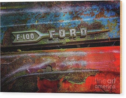 Vintage Ford F100 Wood Print