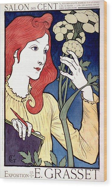 Vintage French Advertising Art Nouveau Salon Des Cent Wood Print