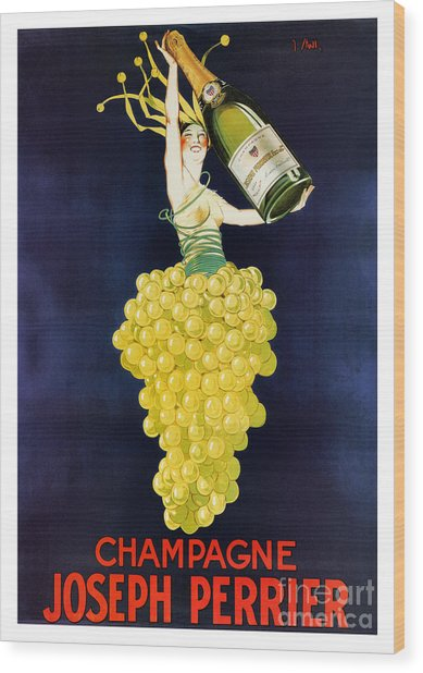 Vintage French Champagne Wood Print