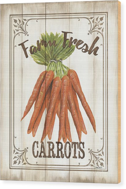 Vintage Fresh Vegetables 3 Wood Print