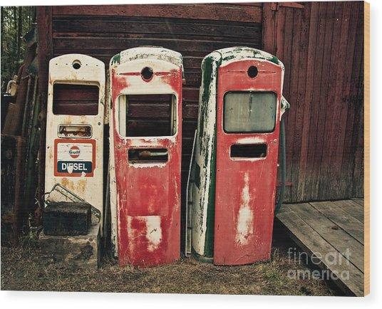 Vintage Gas Pumps Wood Print