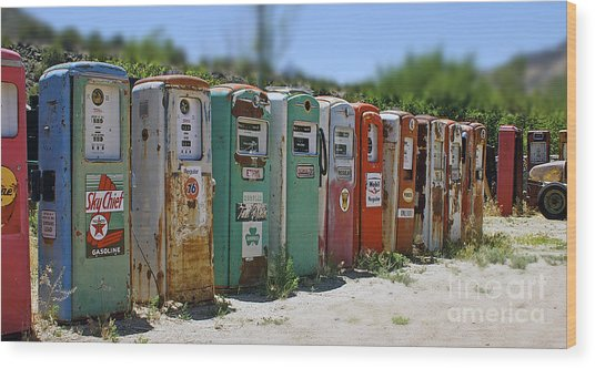 Vintage Gas Pumps Wood Print