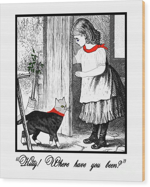 Vintage Girl Lets In Her Gray Cat Wood Print