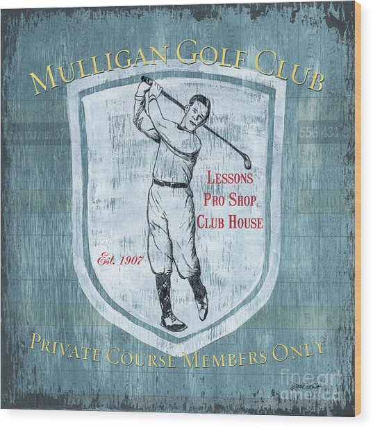Vintage Golf Blue 1 Wood Print
