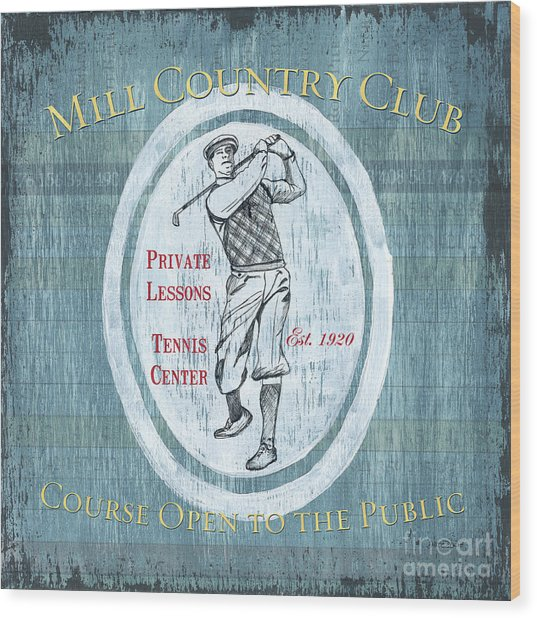 Vintage Golf Blue 2 Wood Print