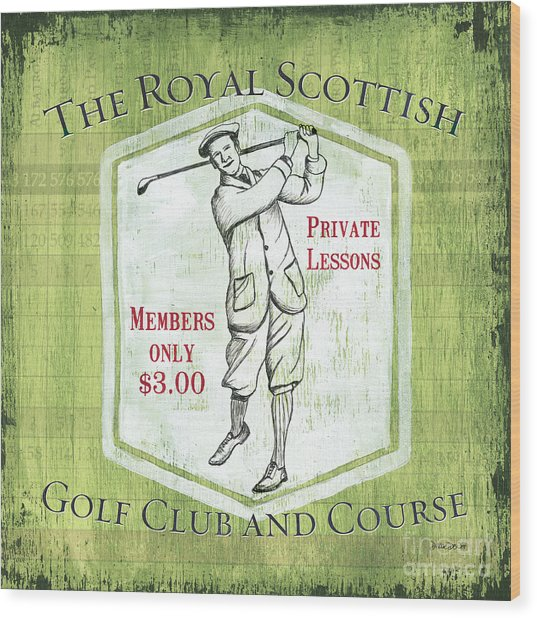 Vintage Golf Green 1 Wood Print
